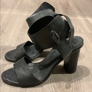 Joie black leather ankle strap chunky heels